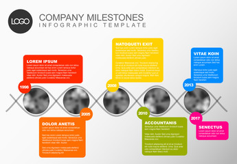 Weaving Photo Timeline Infographic with Multicolored Text Sections