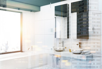 White bathroom interior side toned