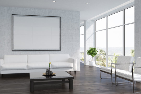 White living room interior with a poster