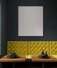Black cafe, yellow sofa, poster