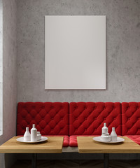 Concrete cafe, red sofa, poster