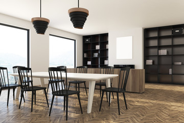 Dining room interior, black chairs and poster side