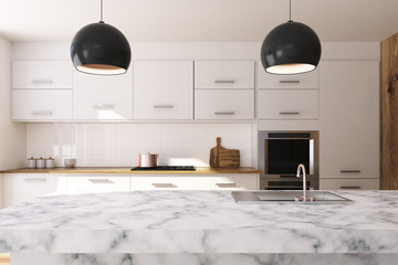 White kitchen, marble countertop