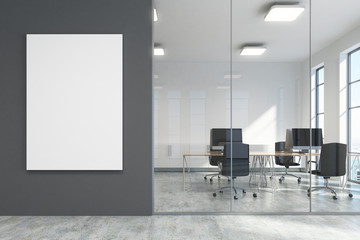 Dark gray office lobby, a meeting room with poster
