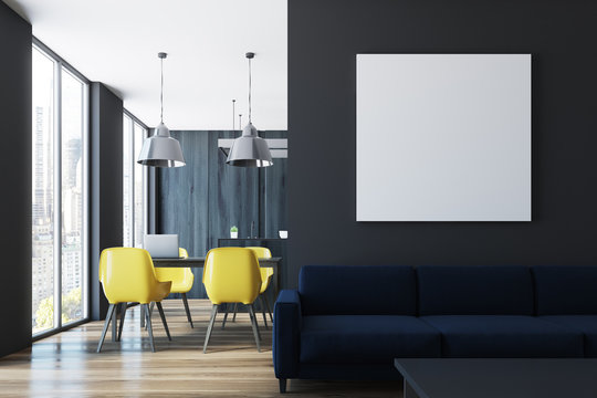 Black living room and dining room, poster
