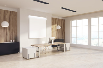 White and wooden boss s office, poster side