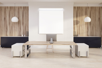 White and wooden boss s office, poster