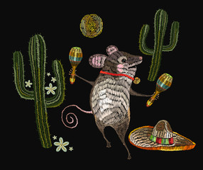 Embroidery little mouse mexican culture.  Classical ethnic embroidery mouse in sombrero, mexican art. Clothes template, t-shirt design