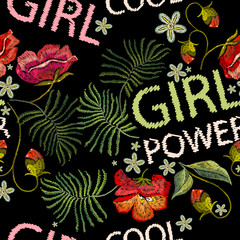 Embroidery poppies flowers t-shirt design seamless pattern. Girl power slogan. Template for clothes, textiles, t-shirt design