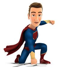 3d superhero arriving on the earth