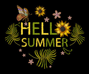 Embroidery flowers t-shirt design. Hello summer slogan. Template for clothes, textiles, t-shirt design