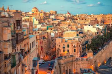 beautiful european city Valletta with balconies and narrow streets, Malta