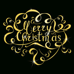 Typography banner gold lettering Merry Christmas on black background stock vector illustration
