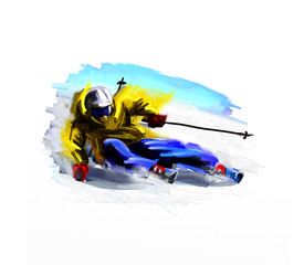 Digital painting of the skier