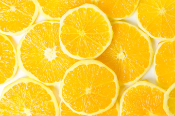 Bunch of orange fruit slices pile