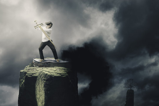 Man with Sword of Spirit Fighting Against Demons-christian spiritual fight concept