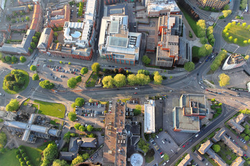 Foto op Plexiglas Luchtfoto Above the city. Aerial view of streets and houses in Bristol, England.