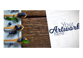 Menu Mockup with Blueberries on Wooden Spoon