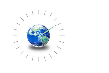 Time for the world concept, Clock and earth on white background, Elements of this image furnished by NASA