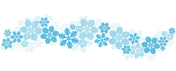 Blue Snowflakes Border on White, stock vector illustration