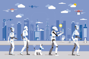 Robots Walking in a Futuristic City