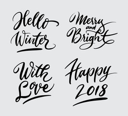 hello winter and happy 2018 handwriting typography. Good use for logotype, symbol, cover label, product, brand, poster title or any graphic design you want. Easy to use or change color