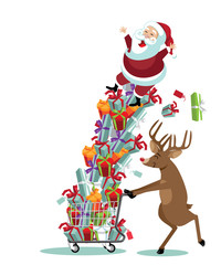 Cartoon Santa Claus and his reindeer go Christmas shopping, Reindeer pushes Santa Claus riding a huge pile of gifts in a shopping cart.