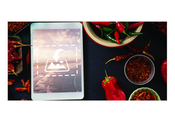 Top View Mockup of Tablet with Peppers and Spices