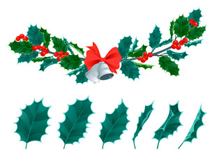 Christmas decorative leaves holly and branches with red berries evergreen winter flower floral plant vector illustration