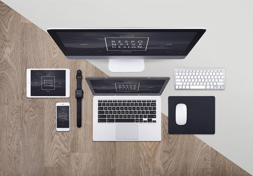 Top View Mockup of 5 Devices with 2 Background Options