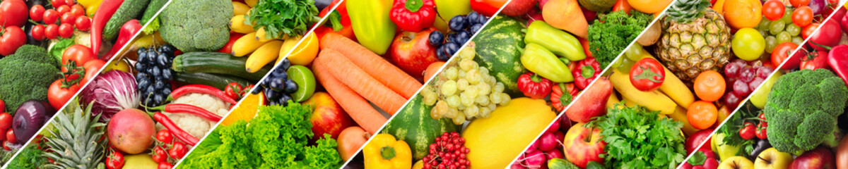 Panoramic collage of fresh fruits and vegetables.
