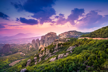 Sunset light over Meteora Monasteries, Greece