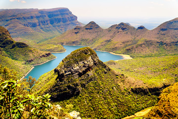 Mountains surrounding the Blyde River Dam in the Blyde River Canyon Nature Reserve on the Panorama Route in Mpumalanga Province of South Africa