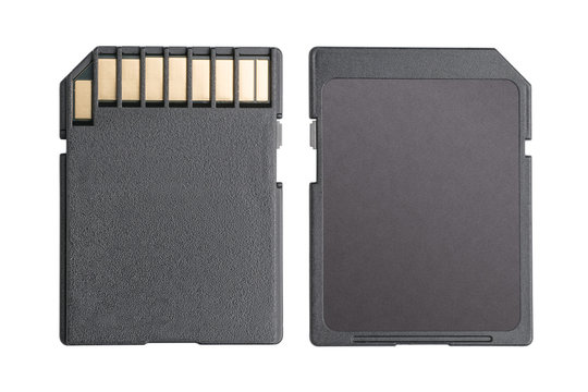 Blank sd memory card isolated with clipping path