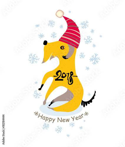 Funny yellow dog in a Santa cap is sitting under snowflakes. Happy ...