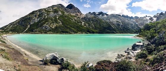 Panoramic picture of Laguna Esmeralda in Tierra del Fuego near Ushuaia, Patagonia, Argentina