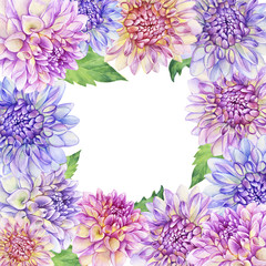 Floral square frame with purple Dahlia flower. Closeup dahlia flower. For wedding, invitation, Valentine's Day, Mother's Day. Watercolor hand drawn painting illustration isolated on white background.