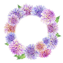 Banner, round frame with purple Dahlia flower. Closeup dahlia flower. For wedding, invitation, Valentine's Day, Mother's Day. Watercolor hand drawn painting illustration isolated on white background.