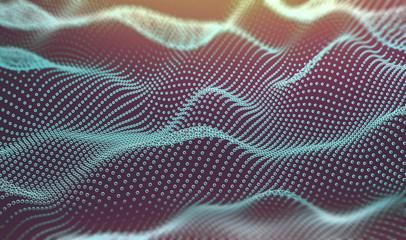Fondo abstracto de tecnología y ciencia.Malla o red.Ilustracion 3d de patrón de puntos y ondas