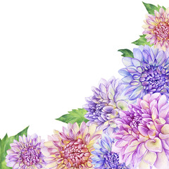Poster, composition of with purple Dahlia flower. Closeup dahlia flower. For wedding, invitation,  Mother's Day. Watercolor hand drawn painting illustration isolated on white background.