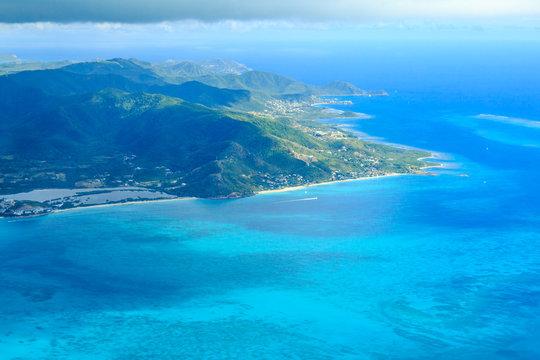 Antiguan Coast from an Airplane