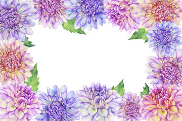 Greeting card with purple Dahlia flower. Closeup dahlia flower. For wedding, invitation, Valentine's Day, Mother's Day. Watercolor hand drawn painting illustration isolated on white background.