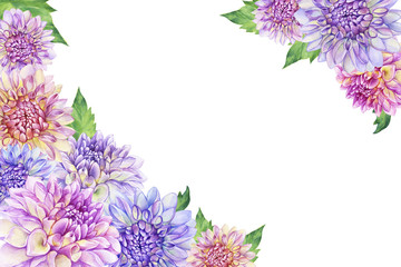 Border with a purple Dahlia flower. Closeup dahlia flower. For wedding, invitation, Valentine's Day, Mother's Day. Watercolor hand drawn painting illustration isolated on white background.