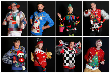 A combination of photos shows candidates as they pose with their holiday season sweaters during the first Ugly Sweater World Championship in Albi, France