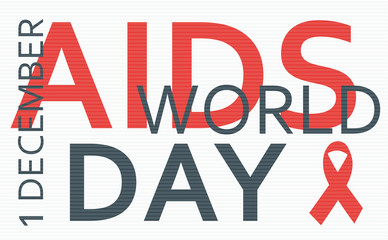 Aids Awareness Red Ribbon. Concept from words. Vector Illustration