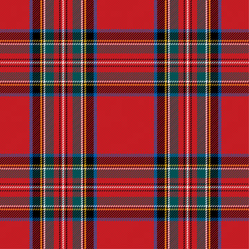 Checkered pattern in Scottish style. Tartan. A classic Christmas geometric pattern. Woolen red fabric.