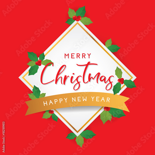 merry christmas and happy new year template for greeting with leaves on red background