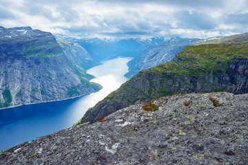 View from the Trolltunga cliff in Norway