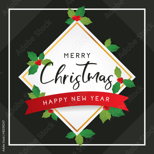merry christmas and happy new year template for greeting with leaves on black background