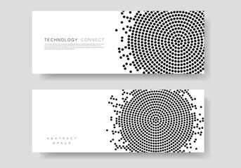 Black abstract vector circle pattern design. Halftone texture
